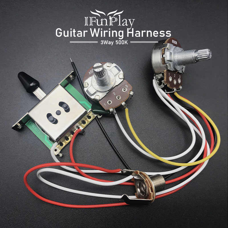 electric guitar wiring harness prewired kit a500k b500k 18mm shaft10 Sets Two Pickup Guitar Wiring Harness 3 Way Blade Switch 500k W #10