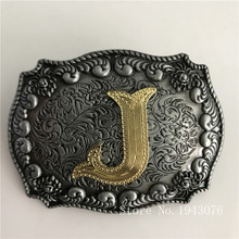 Retail New High Quality Cool 3D Silver Lace Gold J Initial Letter Belt Buckle With 84*63mm Metal Mens Womens Belt Head Jewelry(China)
