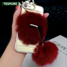 YESPURE Transparent Cell Phone Case for Iphone 7plus Pink Fur Ball Full Covers Phone Accessories Women Diamond Fundas Capa Red(China)