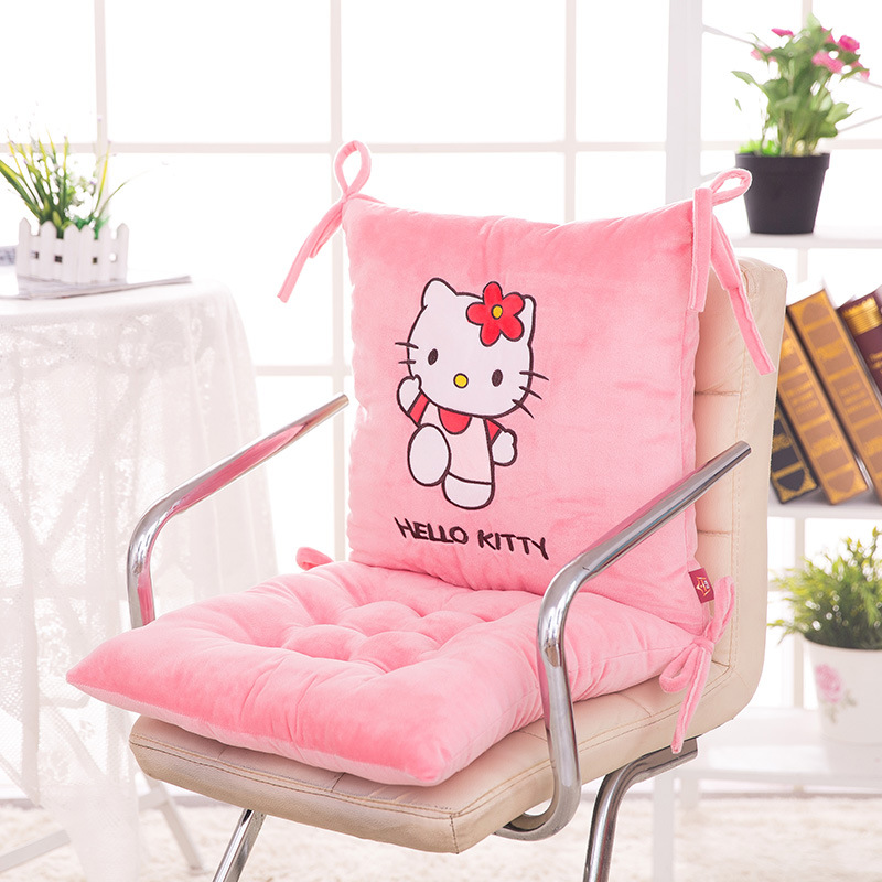 Best O Kitty Cartoon Pattern Seat Back Cushion Ocks Chair Pad Home Office High Quality Xcm With Heated