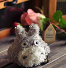 Super Cute 8CM Fluffy Gray Totoro Keychain Stuffed Toy Doll ; Plush Pendant Toy , Gift BAG Charm Decor Plush Doll Toy