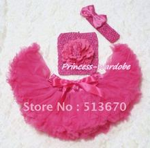 Hot Pink Baby Pettiskirt, Hot Pink Peony Hot Pink Crochet Tube Top, Hot Pink Bow Headband 3PC Set MACT121