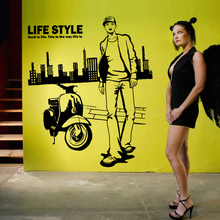 Man Clothes Shop Vinyl Decal Store Window Mural Art Sticker Fashion Boy Motorcycle Custom Wall sticker Removeable Decor(China)