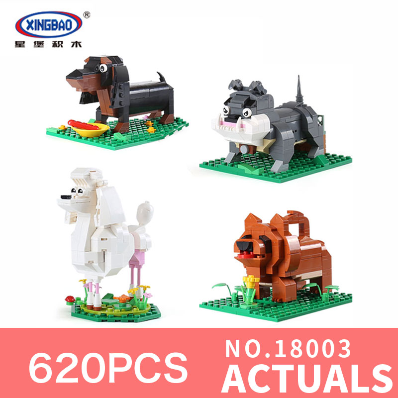 XingBao 18003 Genuine 620Pcs Cute Puppy The Four Puppy in One Set Model Building Blocks Bricks Toys Model For Children gifts<br>