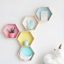 Nordic Style Nursery Kids Room Decoration Shelf Wooden Pink White Honeycomb Hexagon Shelves for Baby Child Bedroom Dekoration(China)