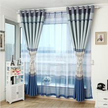 2016 Eastern Mediterranean striped curtain shade blue custom curtains livingroom curtain bedroom curtains grade finished product