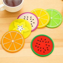 NEW Jelly Color Fruit Shape Coasters Creative Skid Insulation Silica Gel Cup Mat BI27