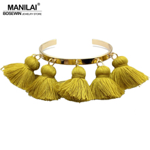 MANILAI 4 Colors Bohemia Tassel Charm Bracelets For Women Fashion Gold Color Cuff Bangles & Bracelets Wrap Manchette Jewelry(China)