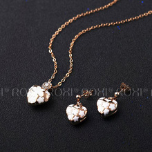 2017 ROXI Charms Neckalces Heart Shape White Flower Crystal Long Necklace Rose Gold Color Chain Wedding Mother's Gift(China)