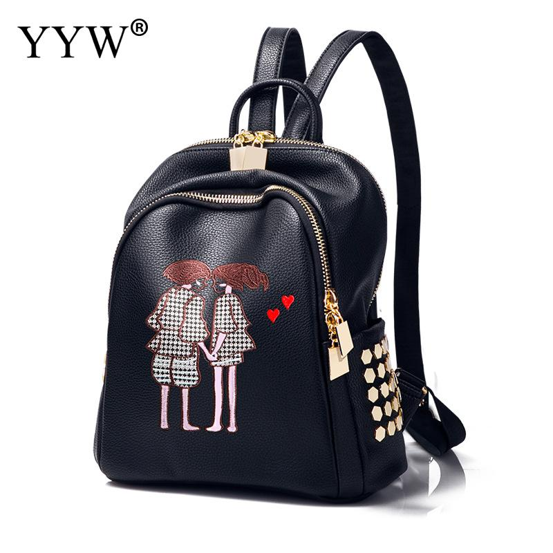 Wholesale 2018 Women Leather Backpack New Korean Version Rivets Backpack Soft Cartoon Black College Wind Bag Sac A Dos Mochila <br>