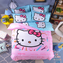 Hot good quality polyester cartoon Children students pink blue white hello kitty bedding sets twin full queen size bedsheet sets(China)