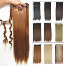 "Synthetic Hair Clip in Hair Extensions for Braids 5Clips One piece Straight 24"" 60cm 120g Black Brown More Color Women Hairpiece"