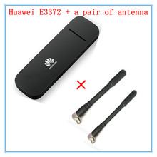 Unlocked Huawei E3372 ( plus a pair of antenna ) 4G LTE 150Mbps USB Modem 4G LTE USB Dongle USB Stick Datacard(China)