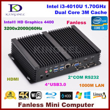Micro PC Windows 10 / Linux Mini Industrial Computer Intel Core i3 4010u Barebone HTPC HDMI HD 4k+VGA RS232 COM RJ45 LAN+WIFI(China)