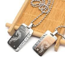 Stainless Steel Necklace For Men/Women Dog Tags Birthday Gift Ball Chain Military Army ID Tag Necklace Pendant(China)