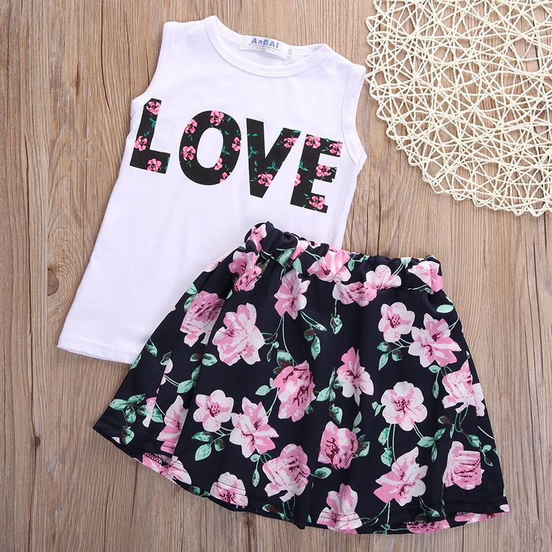 2pcs Toddler Kids Baby Girls T-shirt Tops+Floral Skirt Dress Clothes Outfits Set<br><br>Aliexpress