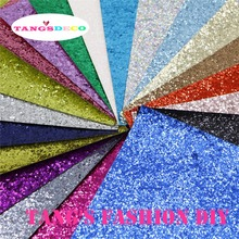 10 PCS/SET--20X22CM PER PCS DIY High Quality CHUNKY Glitter Leather&Fabric/Synthetic leather( Total 18 Colors Available)(China)