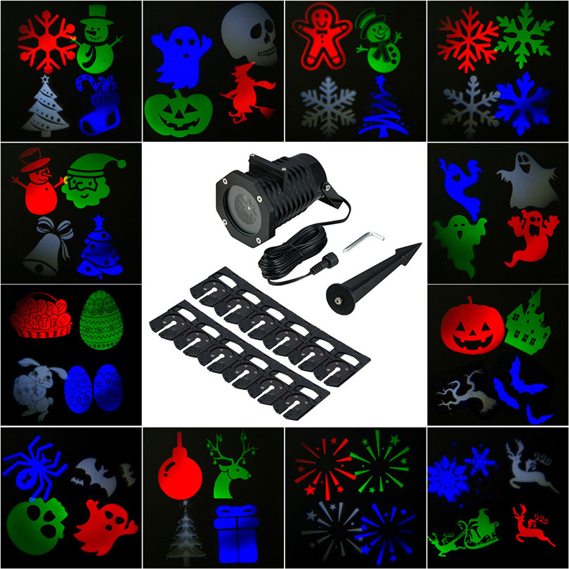 Trecaan Christmas lights Outdoor Laser Projector Lights With 12 Pattern Replaceable Slides Outdoor Laser Stage Lamps<br>