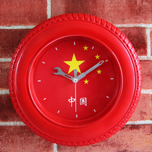 3D Red Wheel Tyre Quartz Wall Clock Round Desk Table Clock China National Flag Alarm Clock Silent Non-ticking Wall Clock