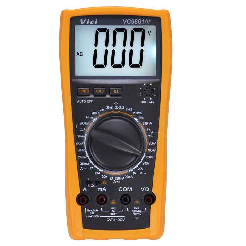VICI VC9801A+ Digital Multimeter 3 1/2 DMM AC/DC Ammeter Voltmeter Ohmmeter w/Capacitance hFE Test 2000uF<br><br>Aliexpress