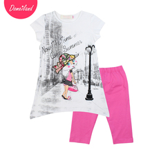 2017 fashion brand domeiland summer Children girl clothing outfits 2pcs cute baby kids cartoon short sleeved shirts legging set(China)