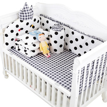7 pcs Classic Black White Design Baby Cot Bedding Set Detachable and Washable Baby Bed Linens Full Set with Filling Multi Colors(China)