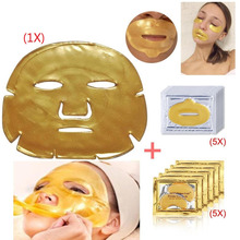 5Pcs Lips Care Gold Crystal Collagen Masks +5Packs Dell'oro Cristallo Collagene Eye Mask Patch Occhio +1Pcs Collageno Mascherina