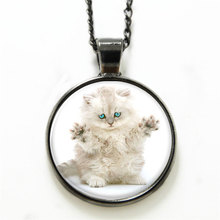 10pcs/lot  Persian Cat necklace, round face and long hair necklace glass Photo Cat Jewelry necklace