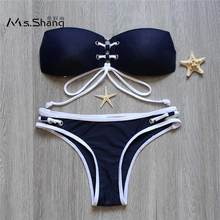 Buy Ms Shang 2018 Halter Top Bikini Push Bandage Bandeau Bikinis Women Swimsuit Blue Sexy Brazilian Swimwear Beach Swimming Suits