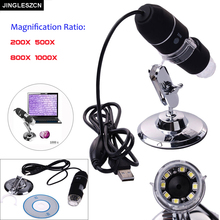 JINGLESZCN New Mega Pixels 8 LED USB Digital Microscope Endoscope Camera Electronics Microscopio Magnifier 1000X 800X 500X 200X