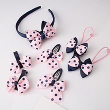 M MISM 1set=7pcs Headwear Set Children Accessories Printing Dot Bow Headband Hair clip Gum for Hair Hairband for Girls Headdress
