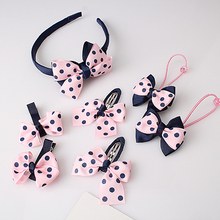 M MISM 1set=7pcs Headwear Set Children Accessories Printing Dot Bow Headband Hair clip Gum for Hair Hairband for Girls Headdress(China)