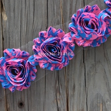 1yard DIY neon pink/blue shabby flower Chiffon Flower Shabby Rose Trim for  hair flower/headband/shoes(023)