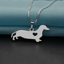 Silver Charm Puppy Pendant Box Chain Necklace Lovely Dachshund Dog Pendant Unisex Style Necklace