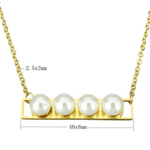 YYW Stainless Steel Jewelry Necklace Jewelry Glass Pearl Gold-color oval chain for woman Sold Per Approx 19.5 Inch Strand