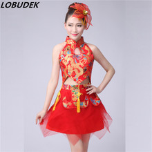 (Top+skirt) women Team singer dancer show Festival party prom stage costumes China style performance show 2 piece sets costume(China)