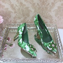 Summer Woman Floral Gem Crystal Green Banana Leafs Printing Pumps Pointed  Toe Slip-on Stiletto 3cf48d58ff1a