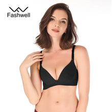 Buy Fashion Smooth Push striped Bras Women Fashion Seamless Bra Adjusted Bralette Underwear Lingerie