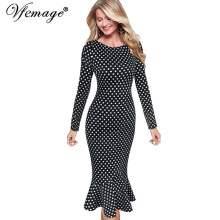 Vfemage Womens Elegant Vintage Autumn Mermaid Pinup Wear To Work Office Business Casual Party Fitted Bodycon Dress 2158(China)