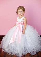 12 Color Ribbon Bow 2Y-12Y White Flower Girl Tutu Dress For Birthday Photo Wedding Party Festival Girls Flower Dresses