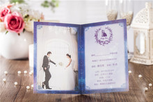 50pcs Personalized custom wedding invitation cards luxury blue star style wedding invitation cards  wedding supplies