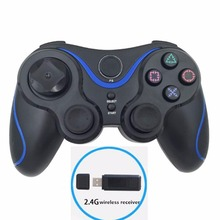 2.4Ghz wireless game controller rechargeable PC gamedpad vibrating joystick with USB receiver for PS3 Windows XP WIN7 WIN10