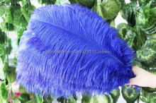 natural Royal blue ostrich feather 45-50 cm / 18 to20 inches 100 pcs ostrich feather for wedding decorations high quality plume(China)