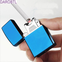 Pure color and individual character creative design shell windproof lighter USB charging pulse arc lighter high-grade lighter
