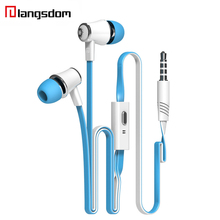 Langsdom JM21 Earphone Super Bass Stereo HIFI Earbuds With Microphone 3.5mm Noodles Wired In-ear Earphone For Samsung iPhone HTC