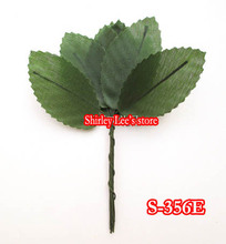 144 BUNCHES=1440pcs X Small satin leaf On Wire Stem IN GREEN , Satin Rose Leaf ,WEDDING DECOR.(Free shipping)*(China)