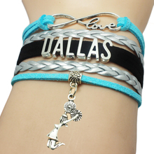 Dallas Basketball Cheers Charm Pendant Bracelet Multi Layers Braid Bracelet Custom Girl Cheer Sport Bracelet