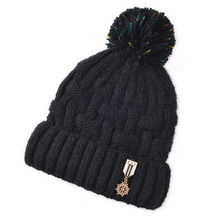 New Winter Warm Thick Knitted Female Skullies Toboggans Beanies Fleece Lined Soft Nap Pom Medal Pattern Solid Color Cap Hat(China)