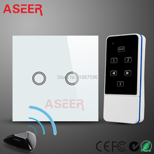 ASEER,UK black 2gang Wifi Wireless wall Switch,Smart Home 433mhz RF Touch Screen Remote Control Light Switch,by broadlink RM PRO