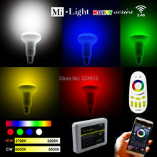 85-265V Milight 2.4G Wireless E27 RGB +Warm/Cool White 9W PAR30 LED Light Dimmable Bulb Lamp +RF Touch Remote+ Wifi Controller